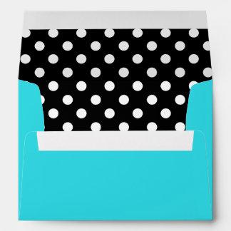 Teal Blue Black and White Polka Dot Envelope