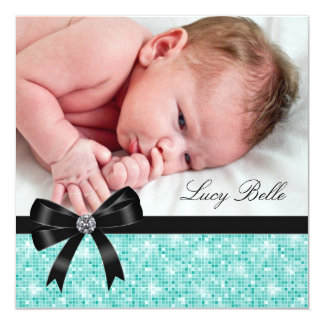 Teal Blue Black Baby Girl Photo Birth 5.25x5.25 Square Paper Invitation Card