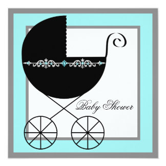 Teal Blue Black Carriage Baby Shower Invitations