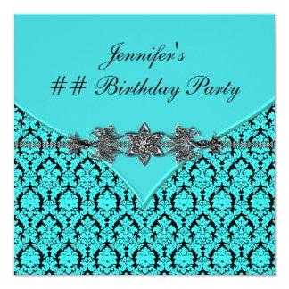 Teal Blue Black Damask Birthday Party Invitation