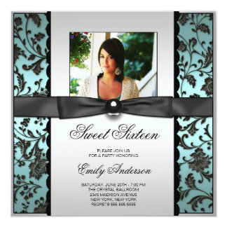Teal Blue Black Damask Photo Sweet 16 Party Card