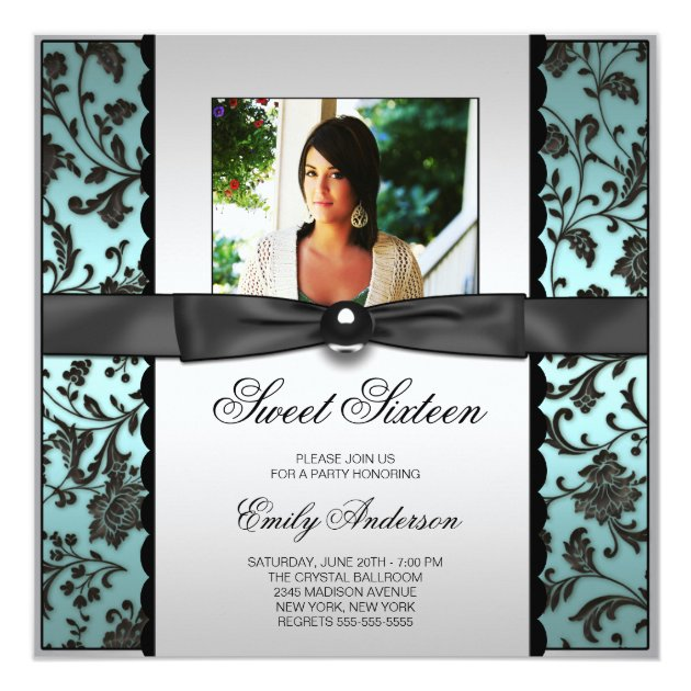 black and white pictures for bathroom teal blue black damask photo sweet 16 card zazzle 25135