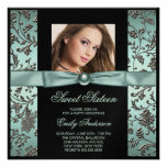 Teal Blue Black Damask Photo Sweet 16 Party Personalized Announcement