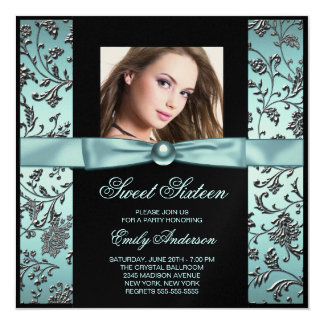 Teal Blue Black Damask Photo Sweet 16 Party 5.25x5.25 Square Paper Invitation Card
