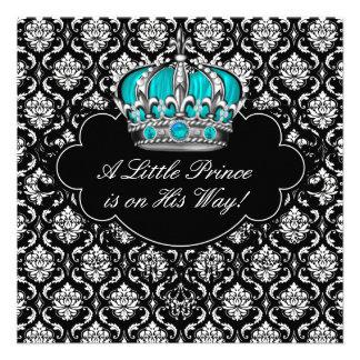 Teal Blue Black Damask Prince Baby Boy Shower Custom Announcements