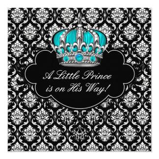 """Teal Blue Black Damask Prince Baby Boy Shower 5.25"""" Square Invitation Card"""