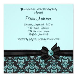 Teal Blue Black Damask Sweet 16 Party Custom Invitation