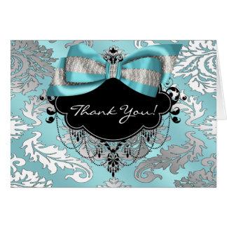 Teal Blue Black Damask Thank You Card
