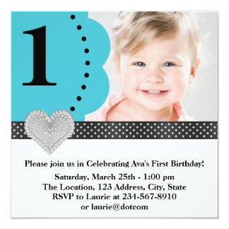 Teal Blue Black Girls Photo 1st Birthday Party Card