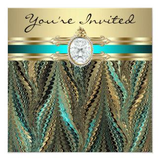 Teal Blue Black Gold Womans Birthday Party Custom Invitation