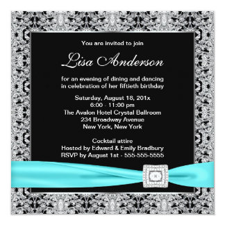 """Teal Blue Black Lace Womans 50th Birthday Party 5.25"""" Square Invitation Card"""