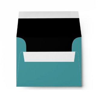 Teal Blue Black Linen RSVP Envelopes