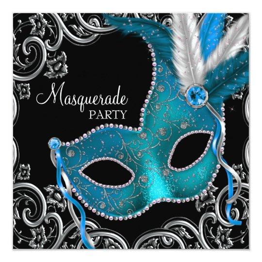 Teal Blue Black Masquerade Party Card