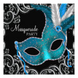 Teal Blue Black Masquerade Party Invites