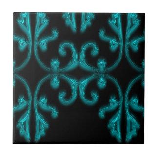 Teal Blue & Black Metallic Ornamental Tile