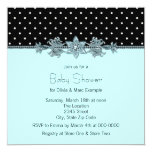 Teal Blue Black Polka Dot Baby Shower Personalized Announcement