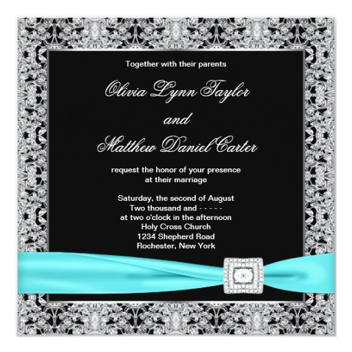 Teal Blue Black Silver Lace Classy Wedding 5.25x5.25 Square Paper Invitation Card