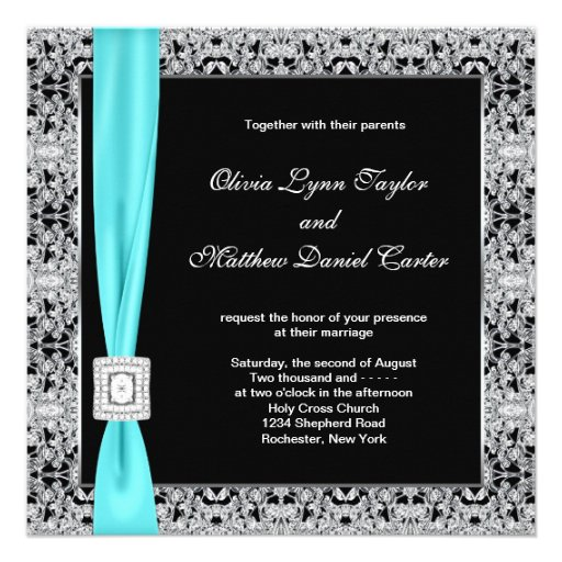 "Teal Blue Black And Silver Wedding 5.25"" Square Invitation"