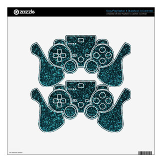 Teal blue black sparkly glitter PS3 controller decals