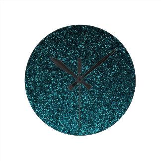 Teal blue black sparkly glitter round clock