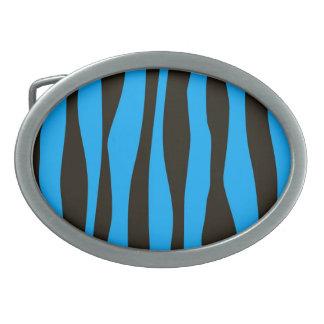 Teal Blue Black Tiger Zebra Stripes Wild Animal Belt Buckle