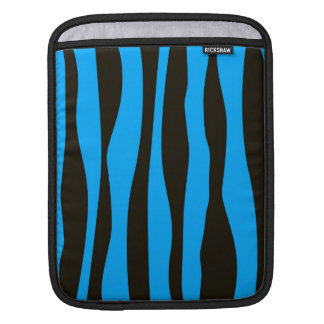 Teal Blue Black Tiger Zebra Stripes Wild Animal Sleeve For iPads
