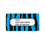 Teal Blue Black Tiger Zebra Stripes Wild Animal Custom Address Label