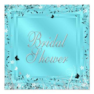 Teal Blue Black White Butterfly Bridal Shower Custom Announcement