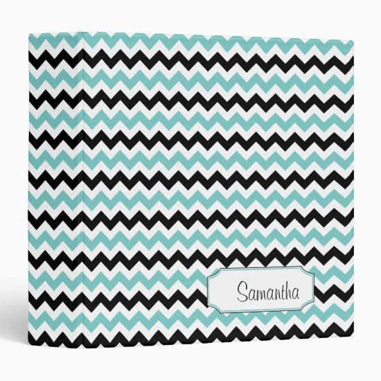 Teal Blue Black White Chevron Pattern Binder