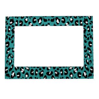 Teal Blue Black White Leopard Spots Magnetic Frame