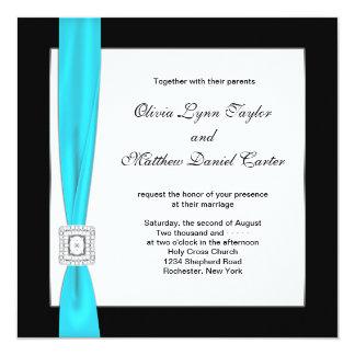 Teal Blue Black White Teal Bow Wedding Card