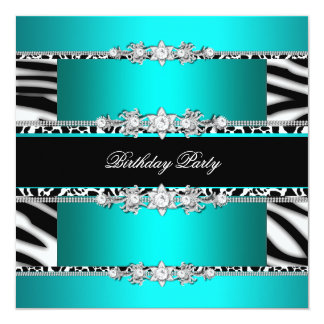 Teal Blue Black Zebra White Jewel Birthday Party Card