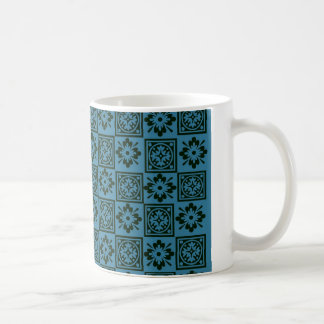 Teal Blue Block Print Mug