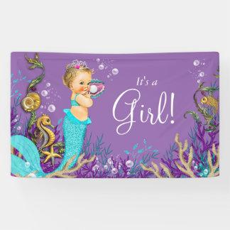 Teal Blue Blonde Mermaid Baby Shower Banner