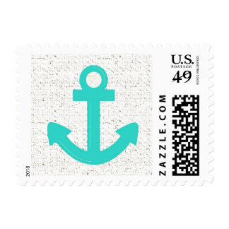 Teal blue boat anchor distressed postage stamps