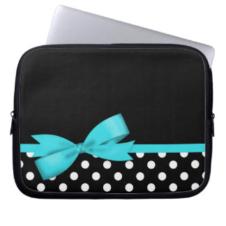 Teal Blue Bow Black and White Polka Dots Computer Sleeve