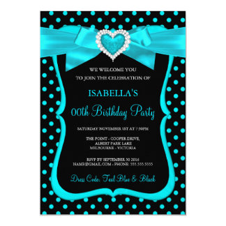 Teal Blue Bow Black Polka Dots Birthday Party Card