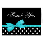 Teal Blue Bow Black Polka Dots Thank You Stationery Note Card