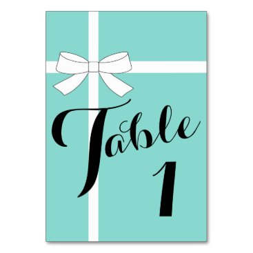 Valentines Themed Teal Blue Bow Celebration Party Number Table Cards