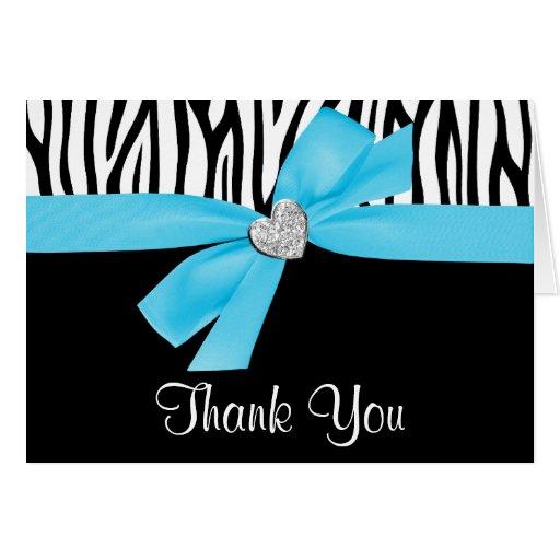 Teal Blue Bow Diamond Heart Zebra Thank You Card