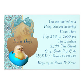 Teal Blue Boys Baby Chick Shower Invitations