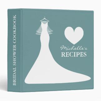 Teal blue bridal shower cookbook recipe binder