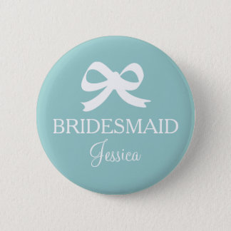 Teal blue bridesmaid button for wedding party