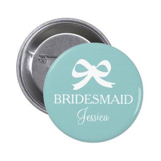 Teal blue bridesmaid button for wedding party pinback button