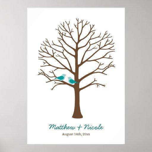 Teal Blue Brown Birds Fingerprint Tree Wedding Print