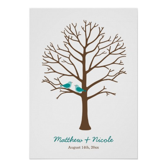 Teal Blue Brown Birds Fingerprint Tree Wedding Poster | Zazzle.com