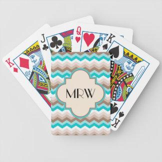 Teal Blue Brown Chevron Modern Monogram Bicycle Playing Cards