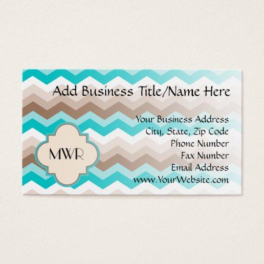 Teal Blue Brown Chevron Modern Monogram Business Card