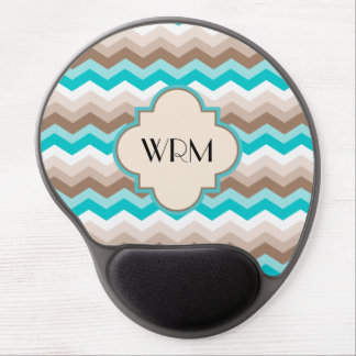 Teal Blue Brown Chevron Modern Monogram Gel Mouse Pad