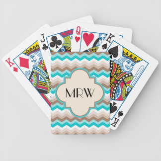 Teal Blue Brown Chevron Modern Monogram Card Deck